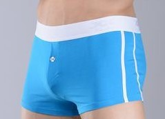 Skyblue first copy cotton boxer with a white belt
