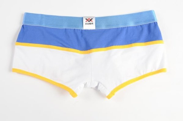 Striped white, blue and yellow cotton boxer