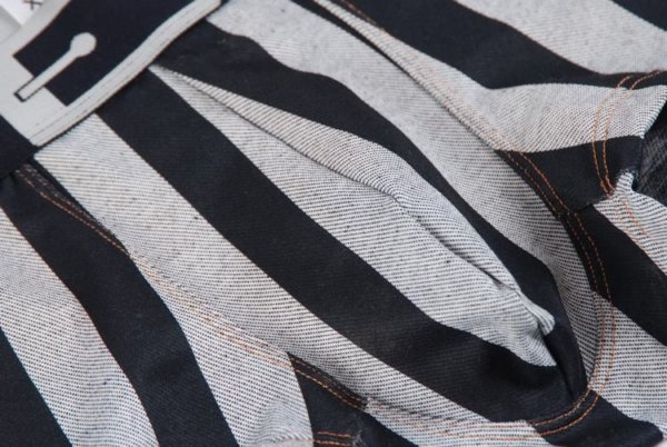 Striped gray and black cotton boxer with black belt