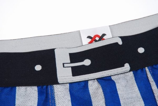 Striped gray and blue cotton boxer with black belt