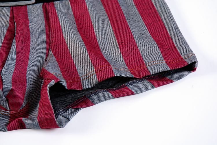 Striped dark red and gray cotton boxer with black belt