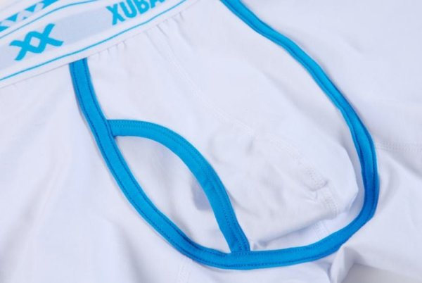 White Cotton Boxer with blue lines