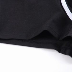 Black Cotton Boxer with white lines