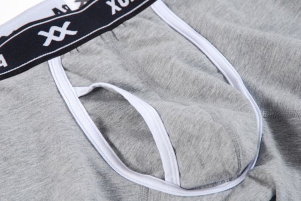 Gray cotton boxer with white lines and black belt