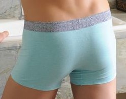 Youth Turquoise cotton boxer with a gray belt