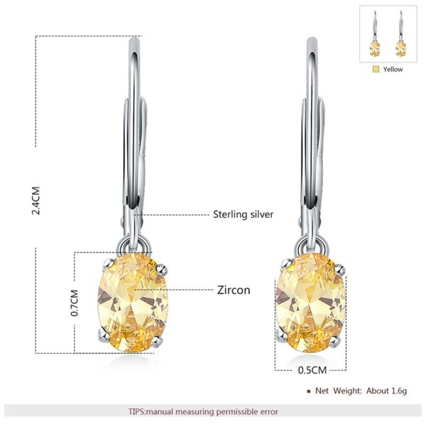 Silver 925 Earring decorated by light brown crystal bezel