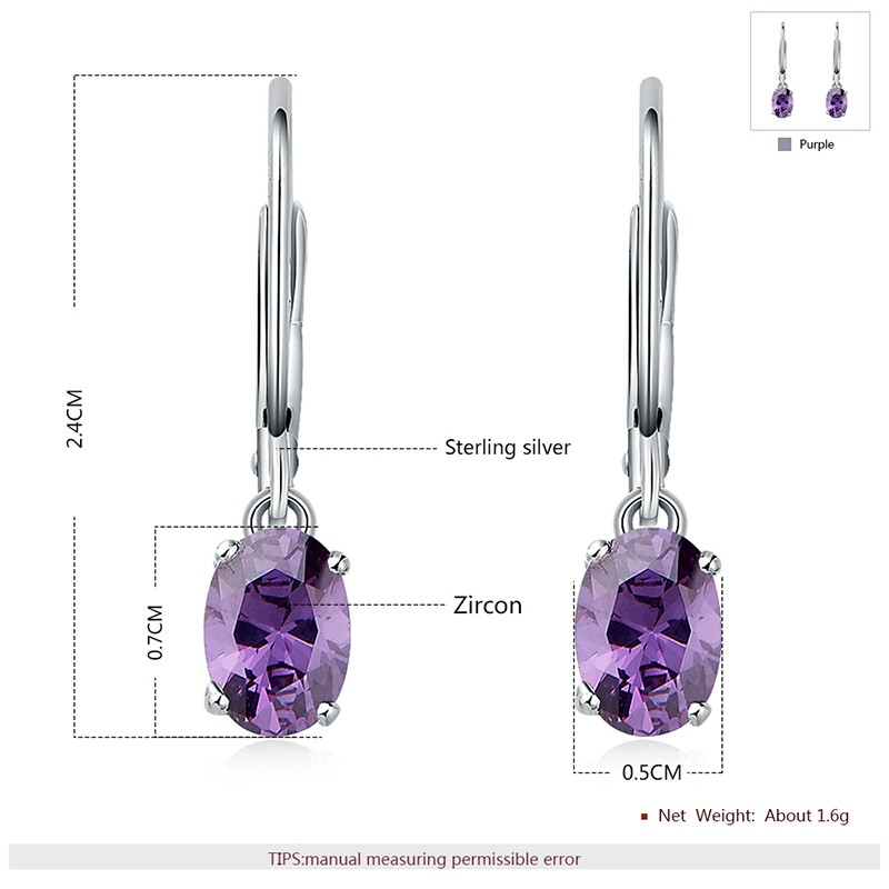 Silver 925 Earring decorated by purple crystal bezel