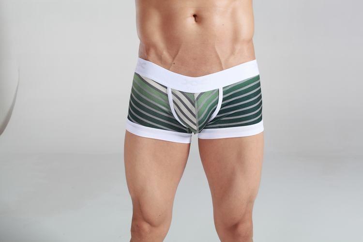Striped emerald & grey Cotton Trunk Boxer