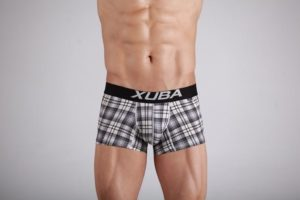 Plaid black, blue & Wheat colored Cotton Trunk Boxer