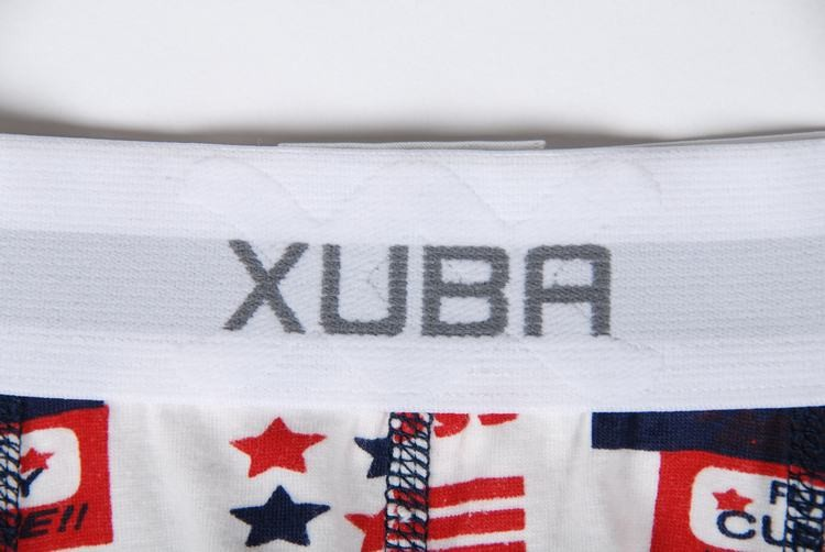 White brief boxer decorated with stars and trade marks