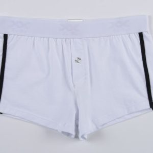 White boxer with black line on both side
