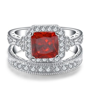 Luxurious silver 925 ring inlaid with red crystal bezel and side white special crystals