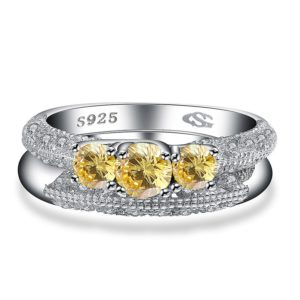 Luxurious silver 925 ring inlaid with three Champagne crystals bezel and side white special crystals