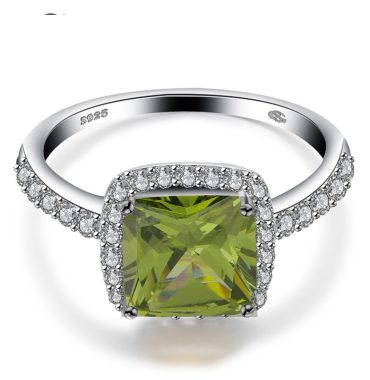 Luxurious silver 925 ring inlaid with olive green crystal bezel and side white special crystals