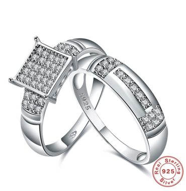 Luxurious silver 925 twins rings inlaid with white square crystals bezels and side white special crystals