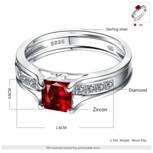 Luxurious silver 925 twins rings inlaid with red zircon and side white special crystals