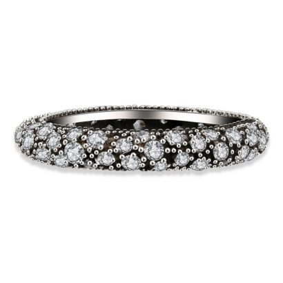 Silver 925 ring inlaid with white crystals