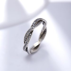 braid silver ring inlaid with special crystals