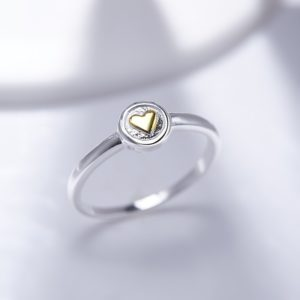 The Heart sterling silver ring plated with gold 18 k