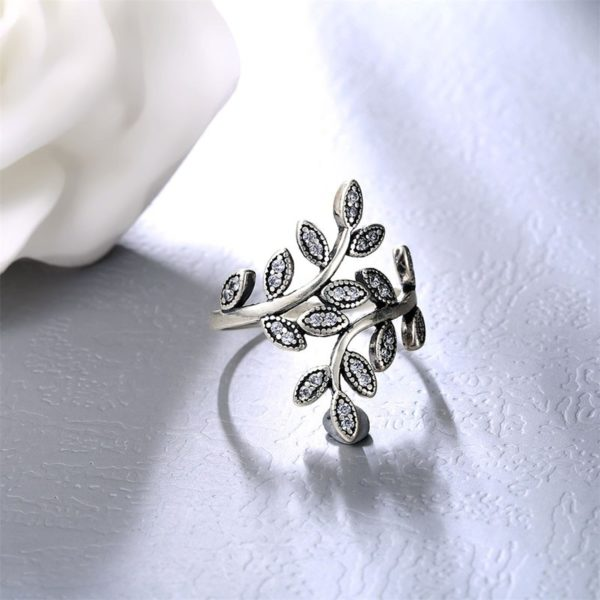 Olive branch, silver 925 ring inlaid with swiss crystal