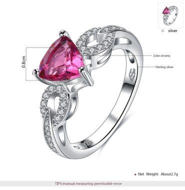 Silver 925 ring with a unique design inlaid with white crystals and a rose heart from zircon