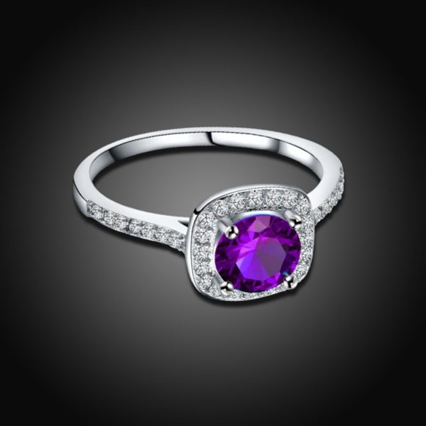 Special white copper ring inlaid with special white crystal and violet zircon