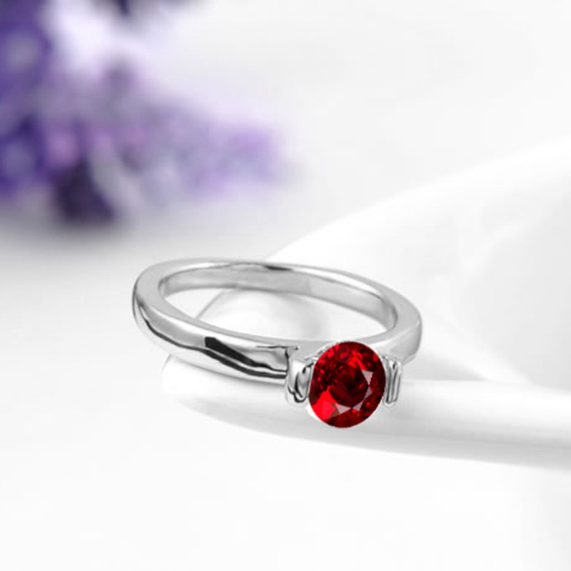 Top quality ring three times gold plated inlaid with swiss red zircon