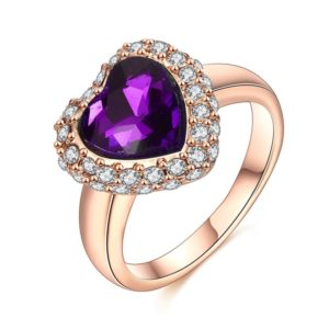 The violet heart ring three times gold plated and inlaid with white crystals an a violet zircon