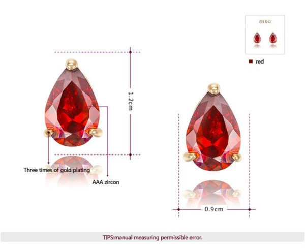 A unique simple earring design three times gold plated and inlaid with swiss red zircon
