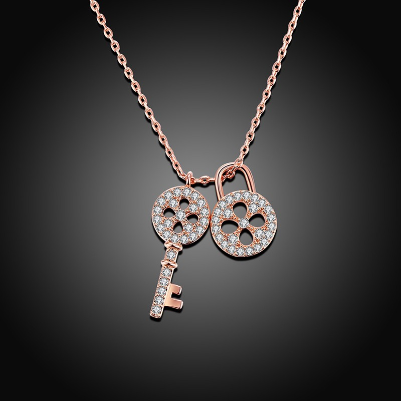 Lock and key necklace has a unique design and plated with gold for Lock and key decor