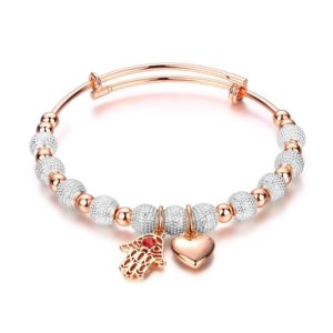 Heart and hand bracelet, gold plated, has a unique design which allows it to be customized