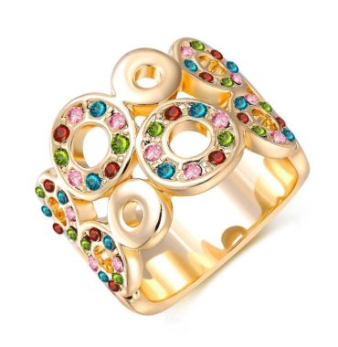 Unique design of gold plated 18K ring, decorated with circular shapes inlaid with colored zircon