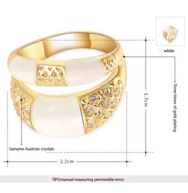 A luxurious three times plated ring inlaid with genuine austrian crystals