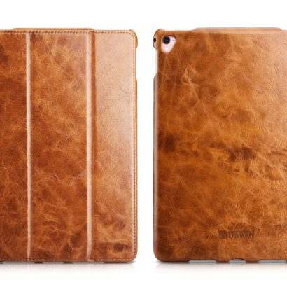 iPad Pro 9.7 inch Oil Wax Vintage Genuine Leather Folio iCarer Case