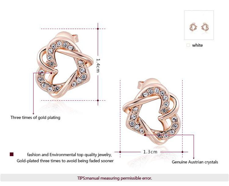 A luxurious three times plated earring inlaid with genuine Austrian crystals