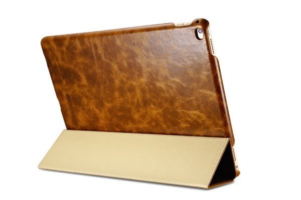 iPad Pro 12.9 inch Oil Wax Vintage Genuine Leather Folio iCarer Case