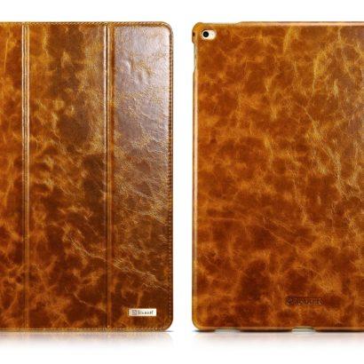 iPad Pro 12.9 inch Oil Wax Vintage Genuine Leather Folio iCarer Case