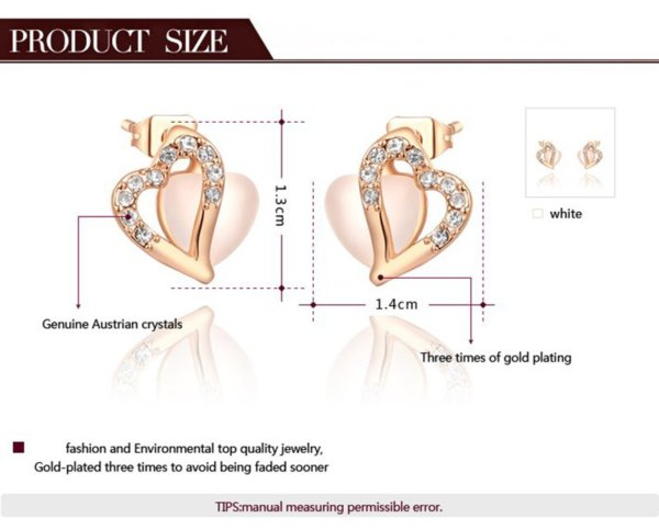 The heart earring is three times gold plated inlaid with white crystals and pied Austrian crystals