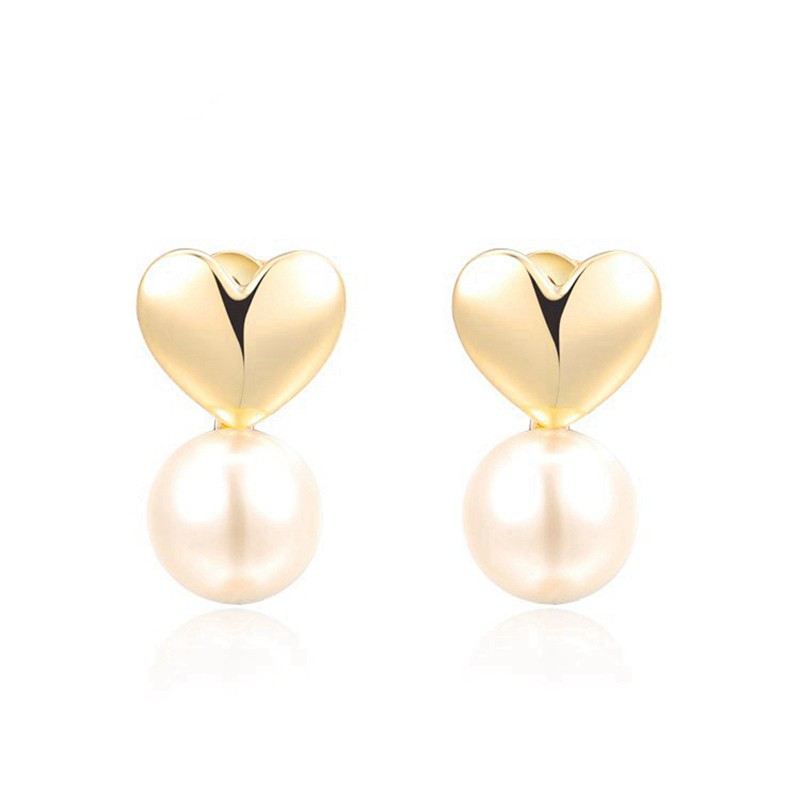 The connected heart and Pearl earring is three times gold plated
