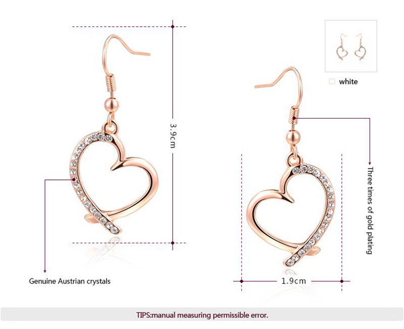 The Heart earring, three times gold plated and inlaid with swiss crystals