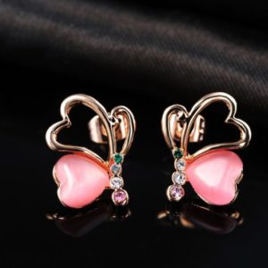 Love Hearts earring, has a unique design, three times gold plated and inlaid with pink pearl and colored crystals