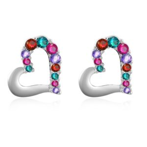 The heart earring is three times gold plated inlaid with colored crystals