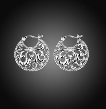 Special copper earring with Guilloche design and silver plated