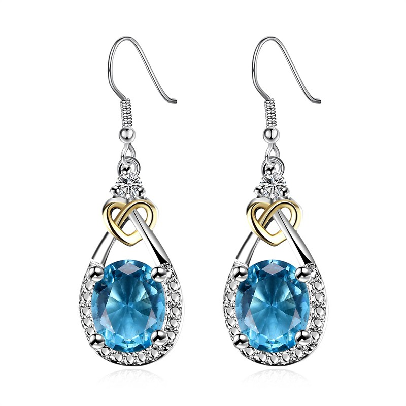 Heart and water drop earring, plated with silver and inlaid with blue crystal