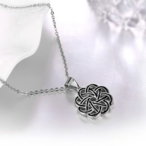Special copper necklace with Guilloche design and silver plated
