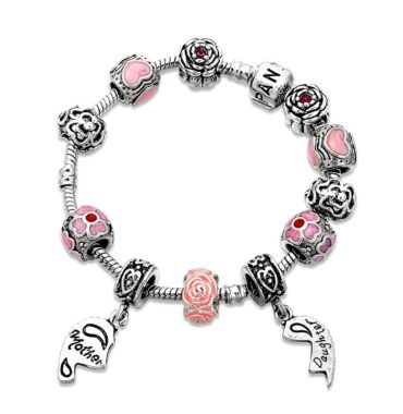 Lovely mother and daughter bangle inlaid with pink crystals and special ornaments