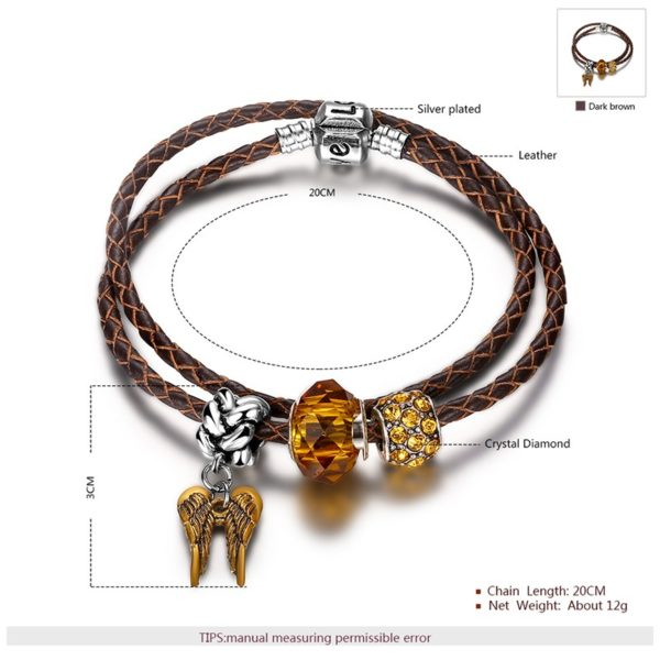 Special real cowhide bangle, inlaid with natural agate and champagne crystal diamond decorated with silver plated ornaments