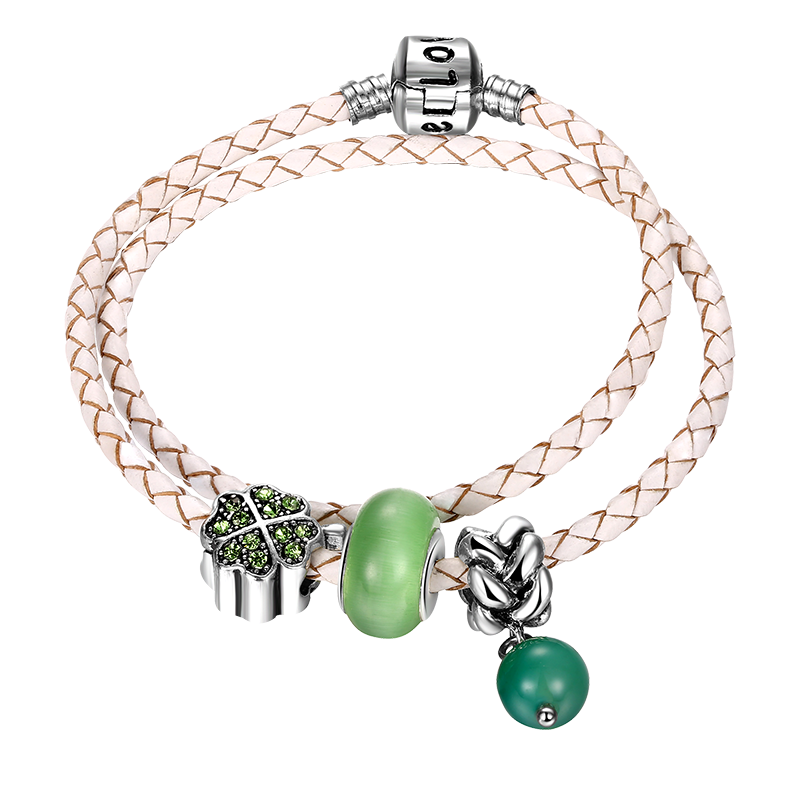 Special real cowhide bangle, inlaid with natural agate, olive green crystal diamond and a unique metal lock plated with silver