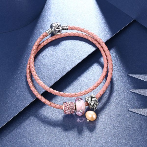 Special real cowhide bangle and inlaid with sea peral, colored crystal and a unique metal lock