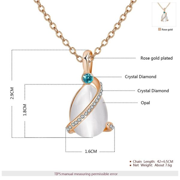 A special necklace, plated with gold and inlaid with blue crystal diamond, white crystal diamond and a big opal in the middle